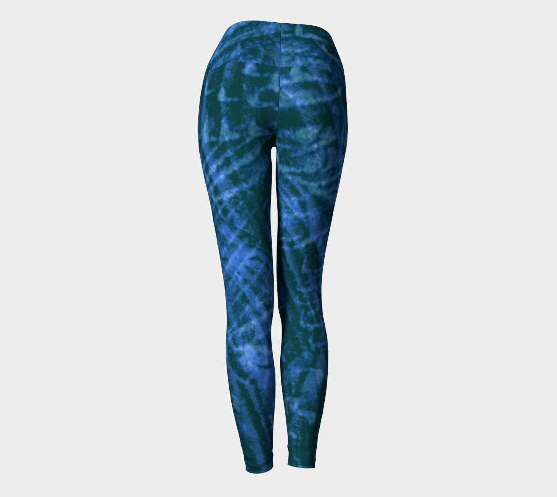 Abstract flight of the blue bird yoga leggings preview #4