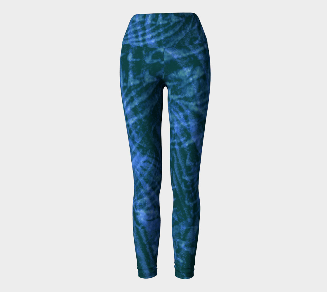Abstract flight of the blue bird yoga leggings preview #2