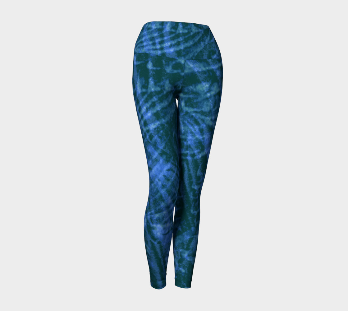 Abstract flight of the blue bird yoga leggings preview #1