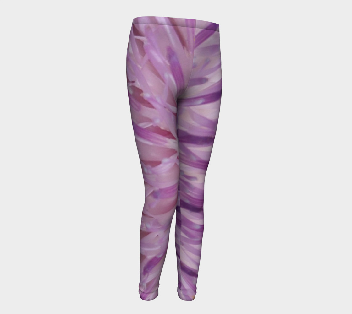 Purple Bud Explosion Youth Leggings preview #1