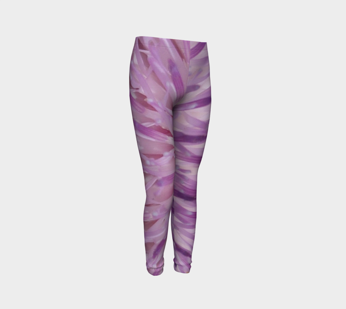Purple Bud Explosion Youth Leggings preview #3