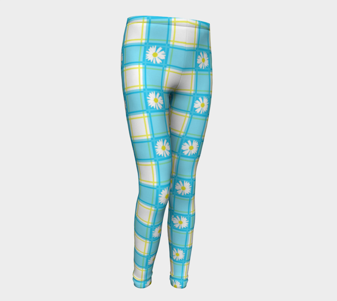 Daisies on Blue Gingham Plaid preview #1