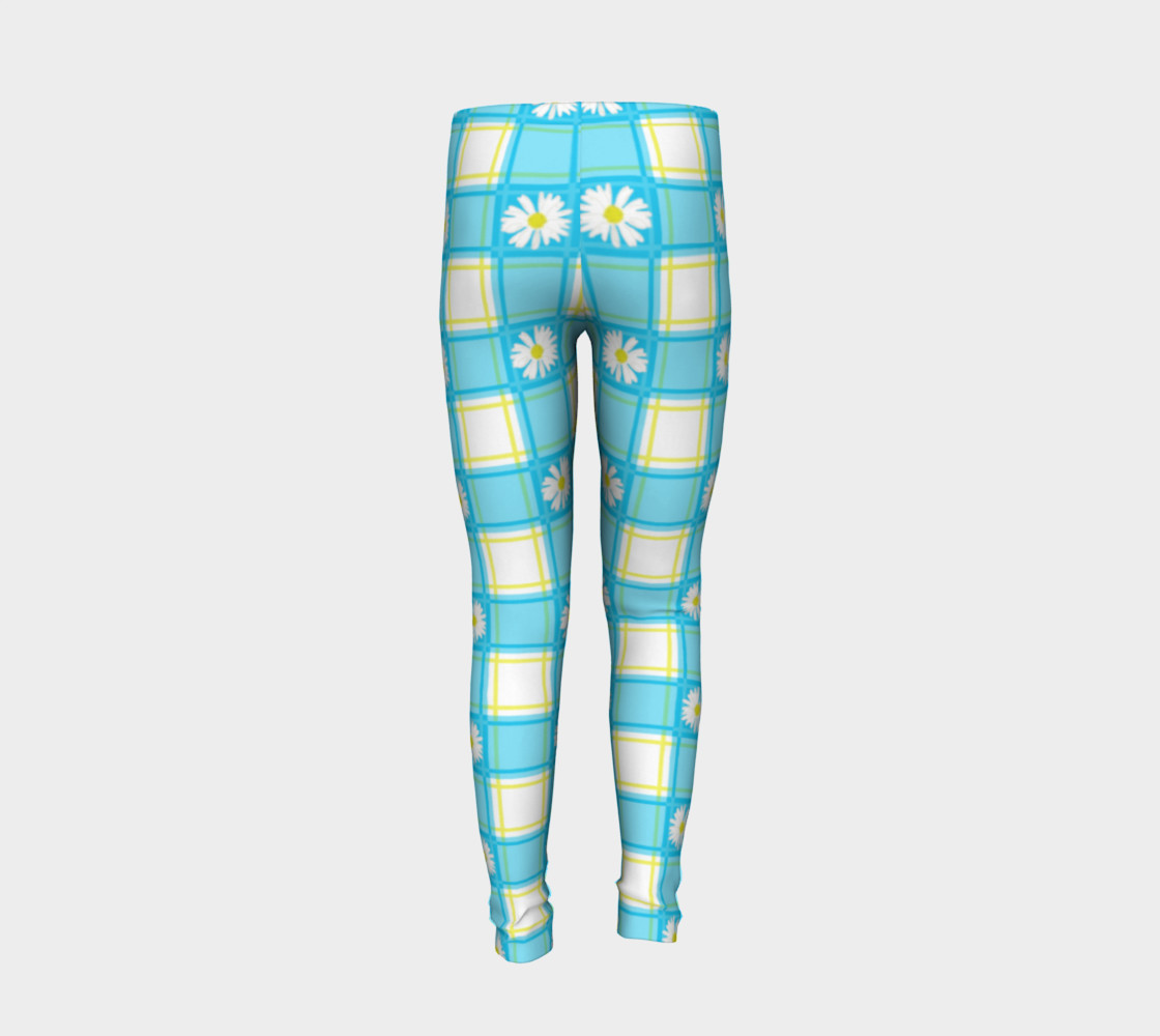 Daisies on Blue Gingham Plaid preview #6