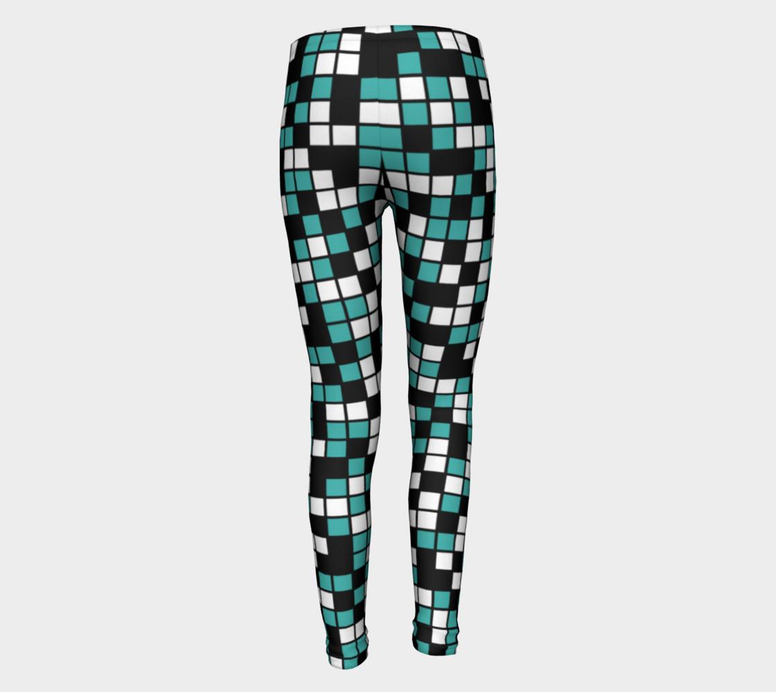 Aperçu de Verdigris, Black, and White Random Mosaic Squares #5