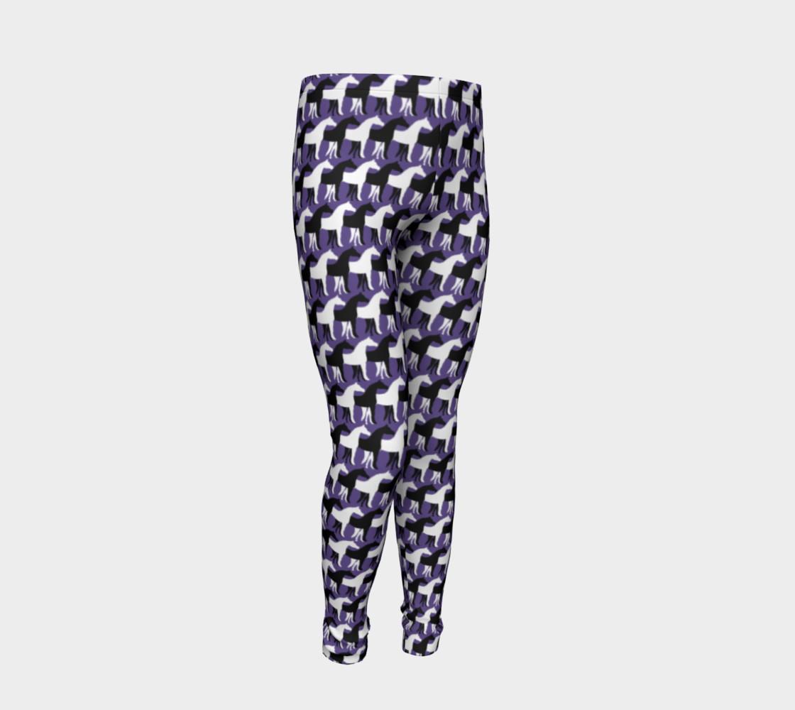Aperçu de Black and White Overlapping Horses on Ultra Violet Purple #2