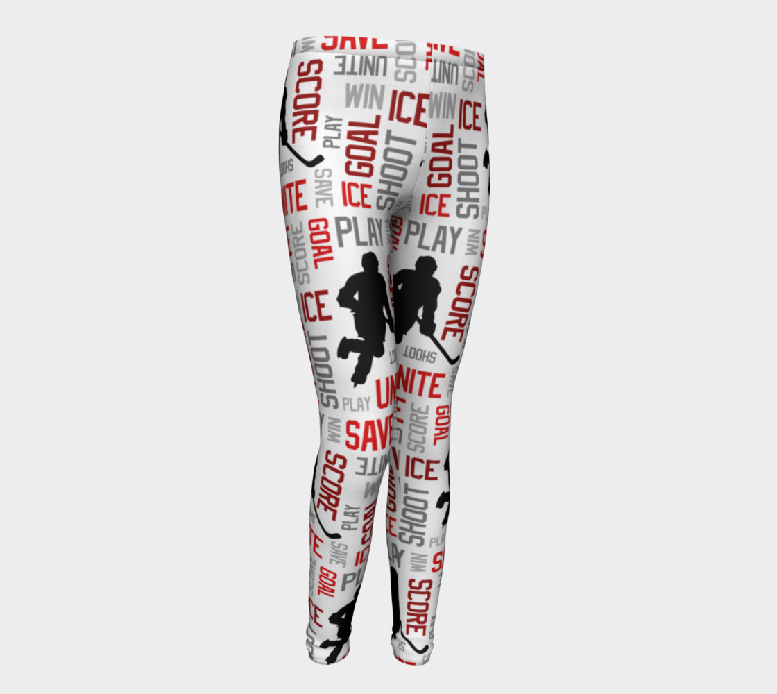 For the Love of Hockey - Red Youth Leggings preview #1