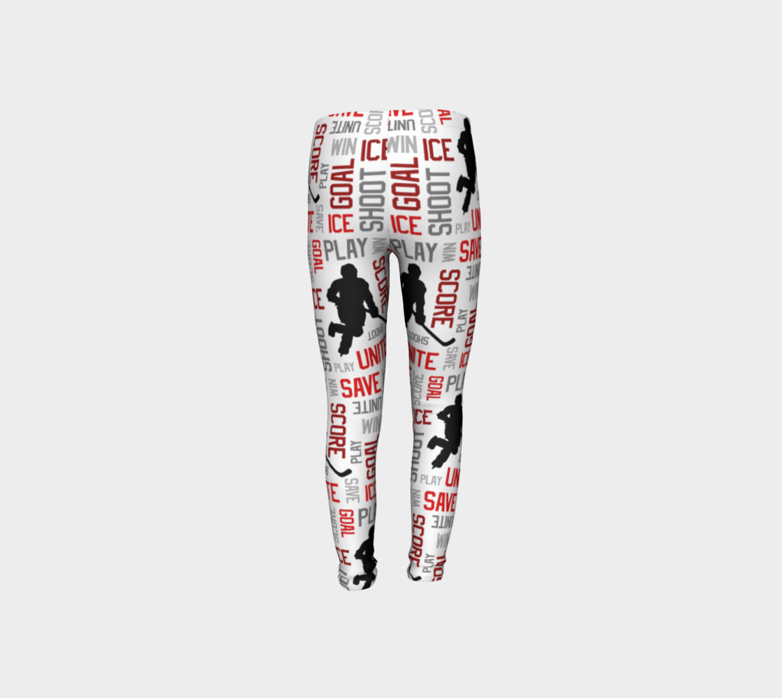 For the Love of Hockey - Red Youth Leggings preview #8
