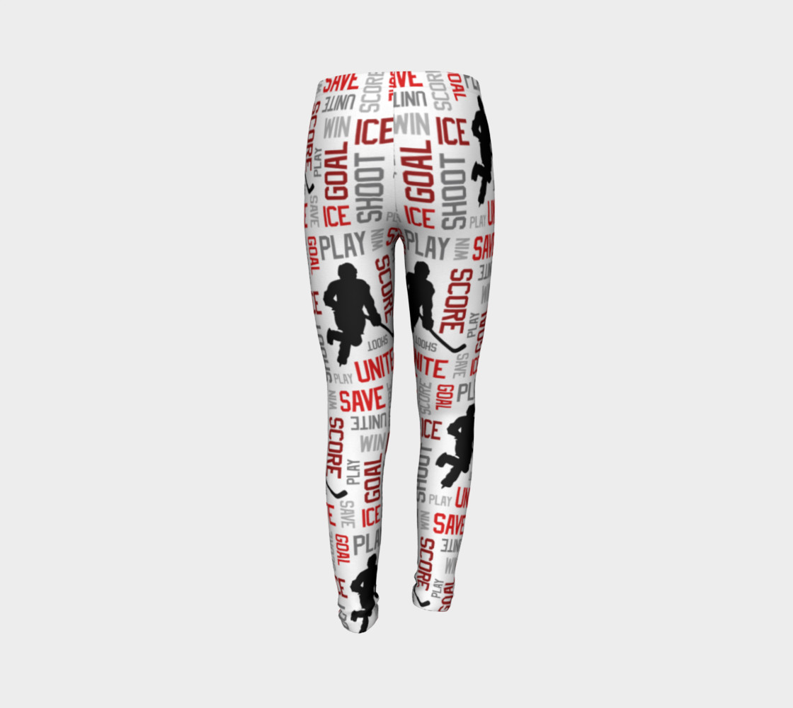 For the Love of Hockey - Red Youth Leggings preview #7