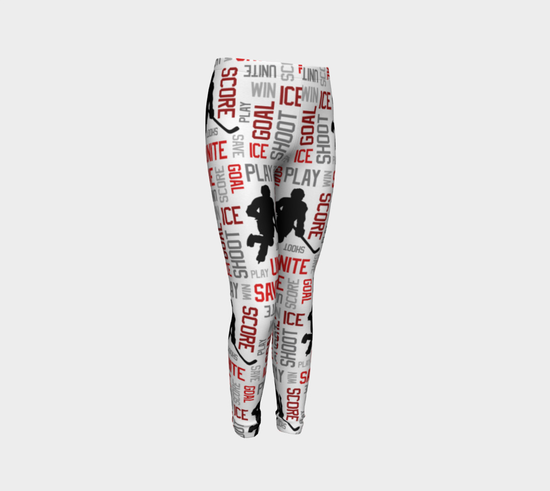 For the Love of Hockey - Red Youth Leggings preview #3