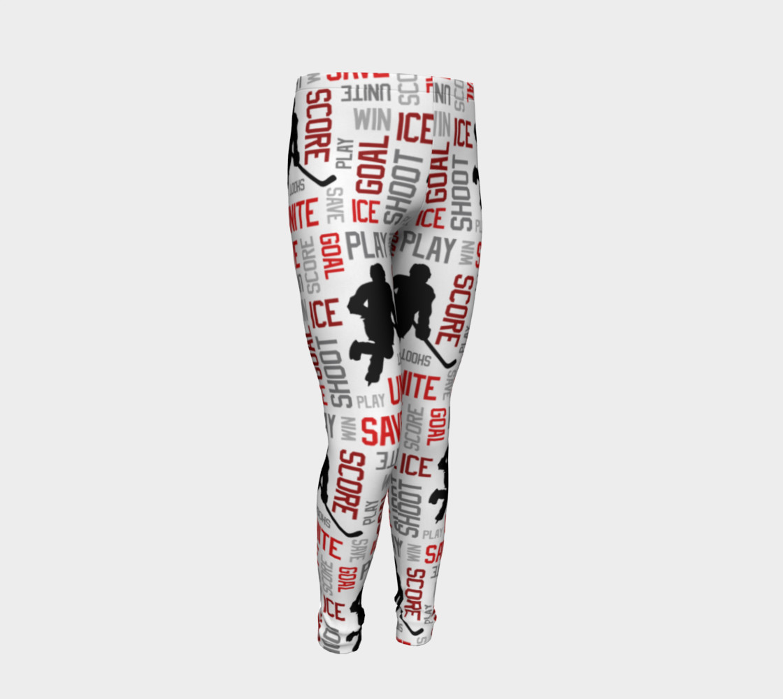 For the Love of Hockey - Red Youth Leggings preview #2