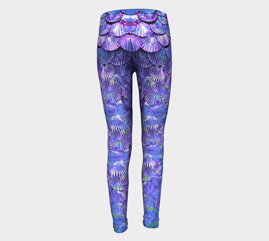 Youth/Child Lilac Mermaid Scale Leggings  preview #5