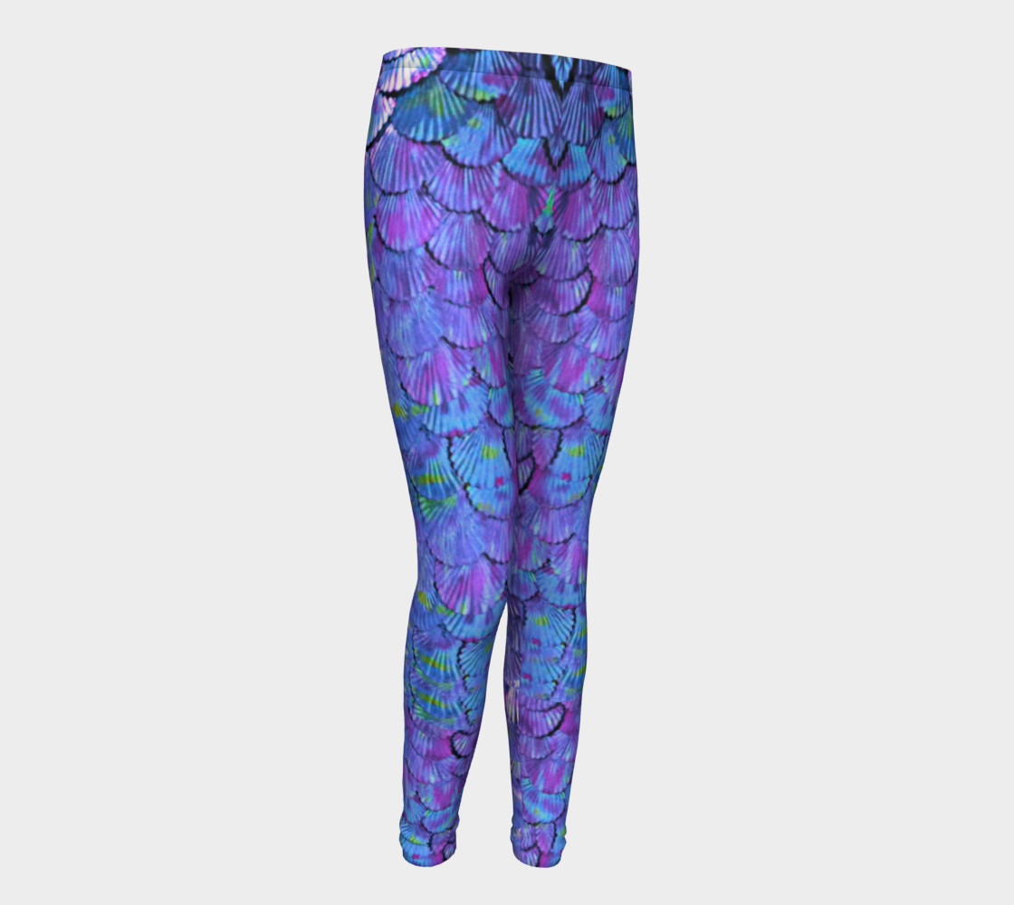 Youth/Child Lilac Mermaid Scale Leggings  preview #1
