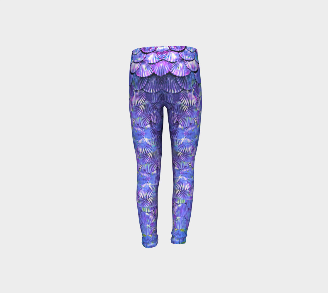 Youth/Child Lilac Mermaid Scale Leggings  preview #8