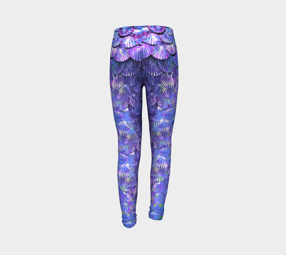 Youth/Child Lilac Mermaid Scale Leggings  preview #7