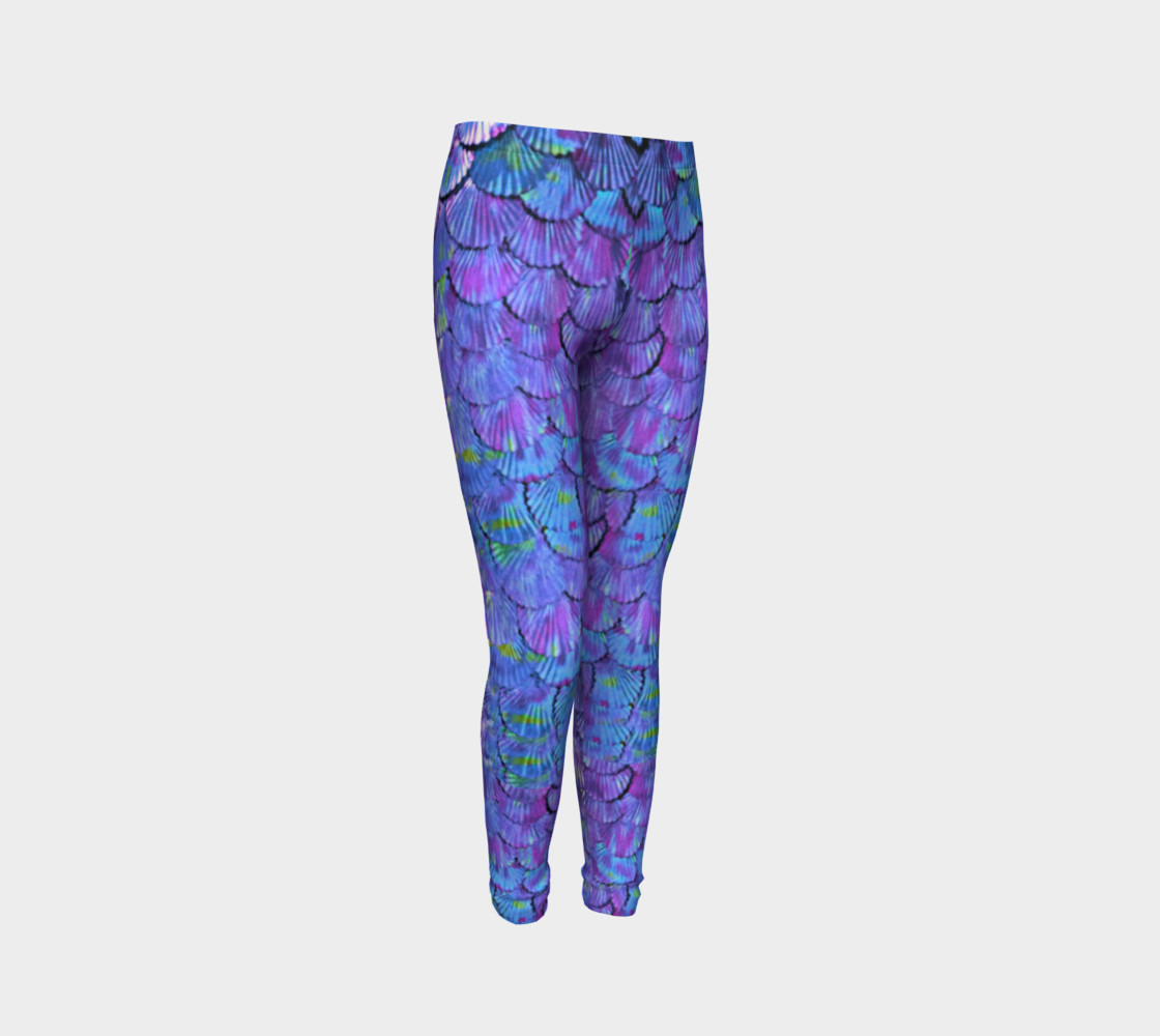 Youth/Child Lilac Mermaid Scale Leggings  preview #3