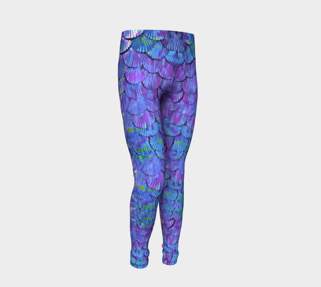 Youth/Child Lilac Mermaid Scale Leggings  preview #2