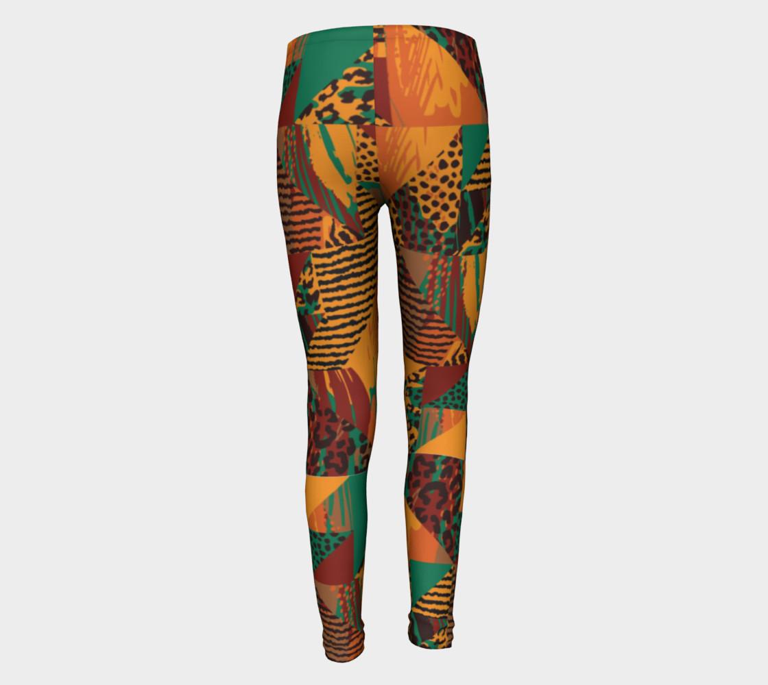 Abstract Safari Print Youth Leggings preview #5