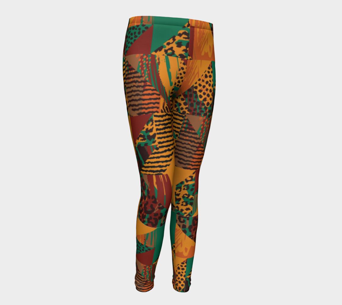 Abstract Safari Print Youth Leggings preview #1