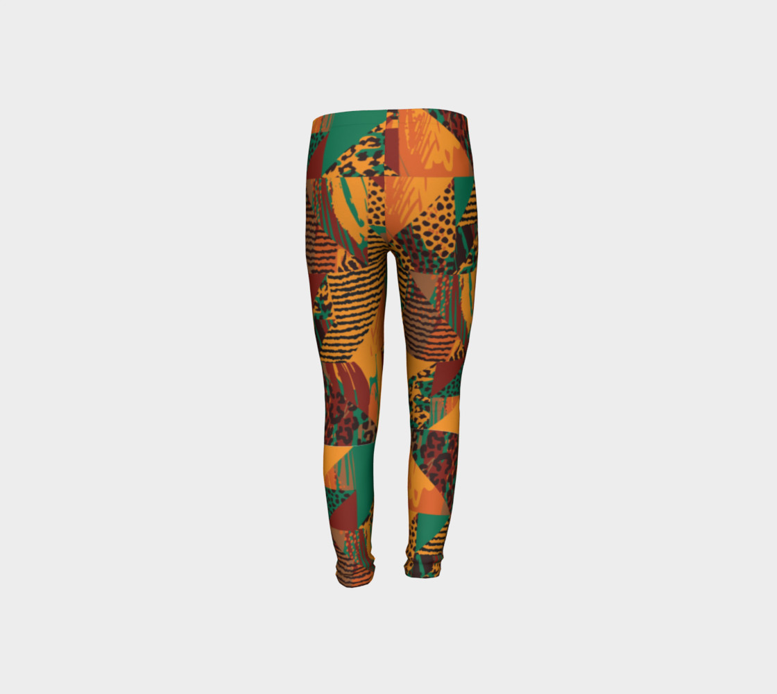 Abstract Safari Print Youth Leggings preview #8