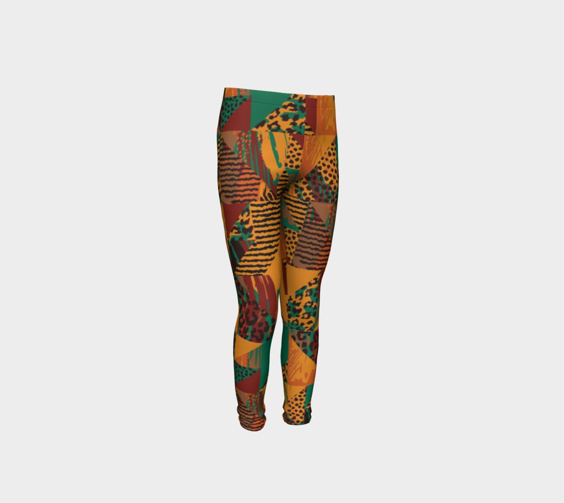 Abstract Safari Print Youth Leggings preview #4