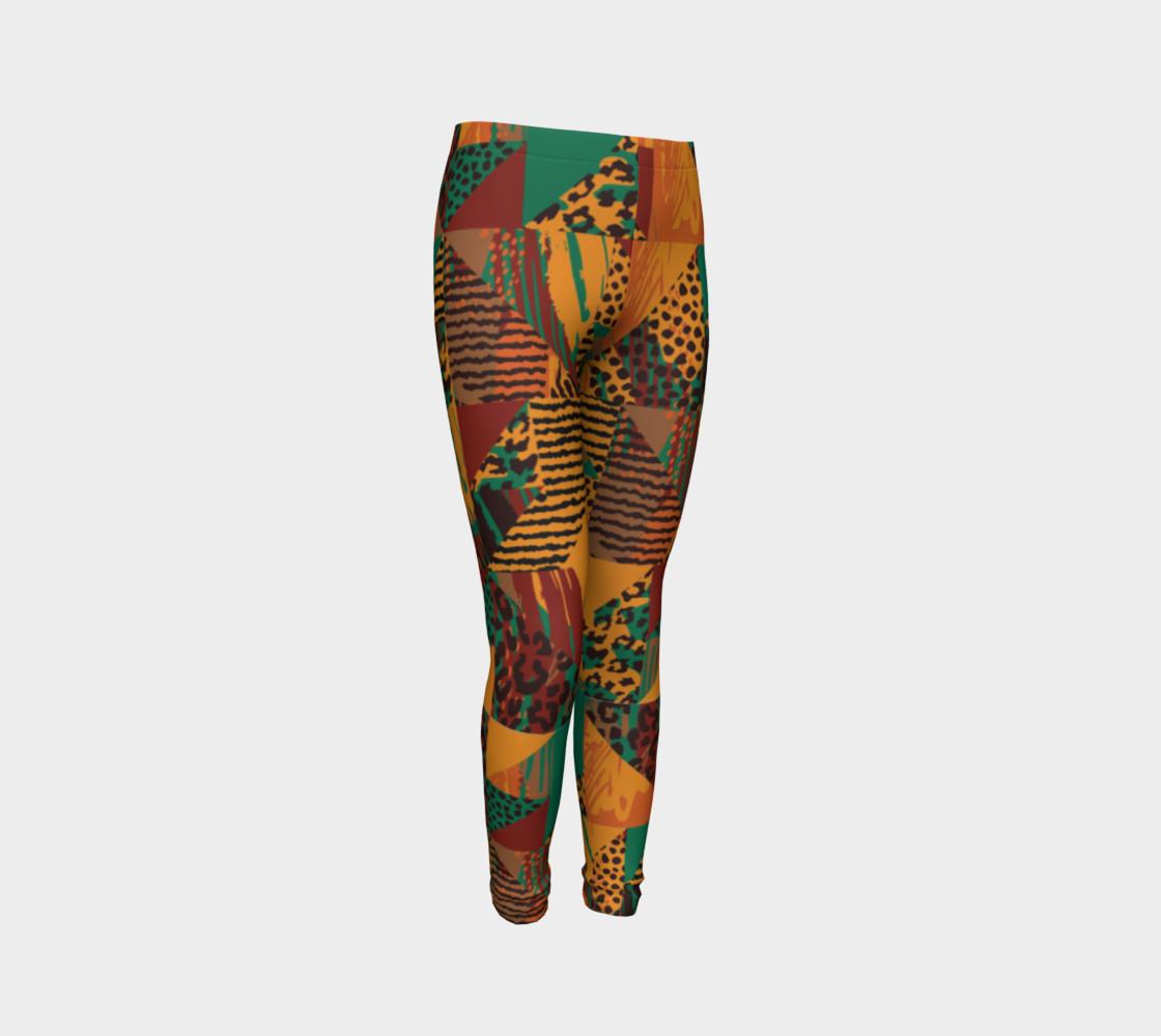 Abstract Safari Print Youth Leggings preview #3