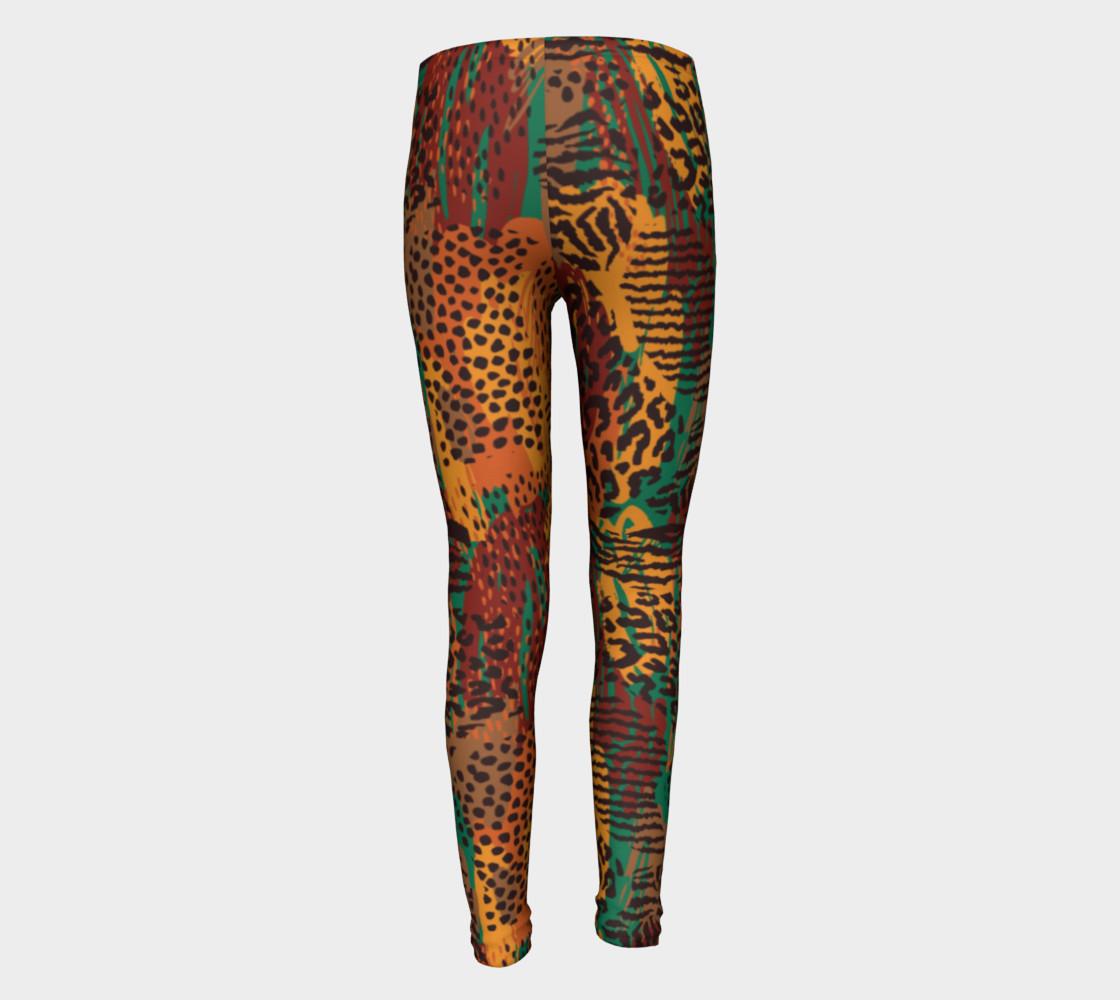 Safari Animal Print Mashup Youth Leggings preview #5