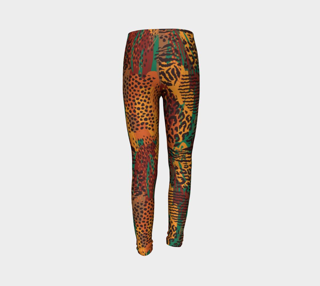 Safari Animal Print Mashup Youth Leggings preview #7