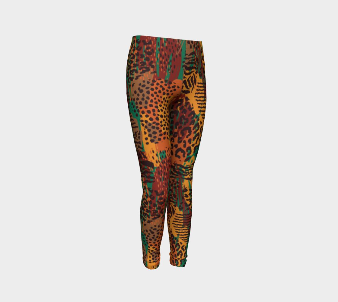 Safari Animal Print Mashup Youth Leggings preview #3