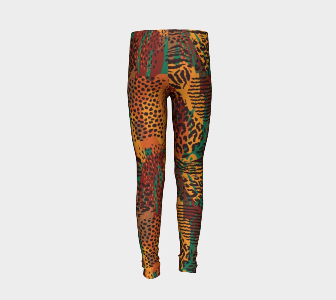 Safari Animal Print Mashup Youth Leggings preview #6