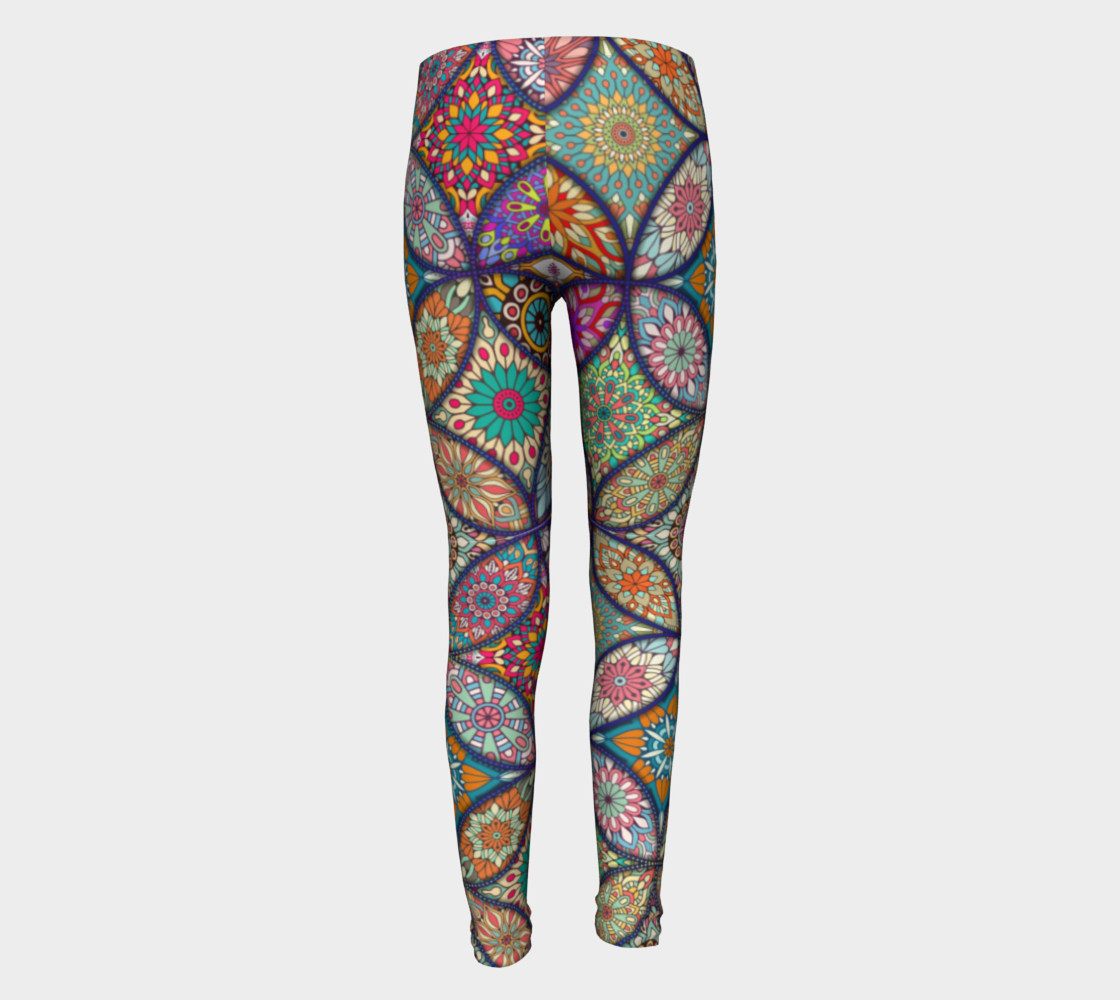 Vibrant Mandalas Youth Leggings preview #5
