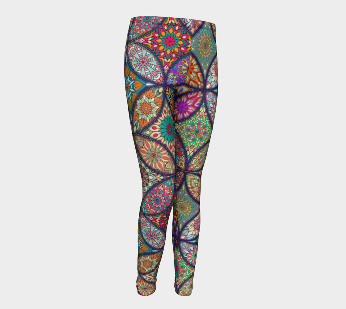 Vibrant Mandalas Youth Leggings preview #1