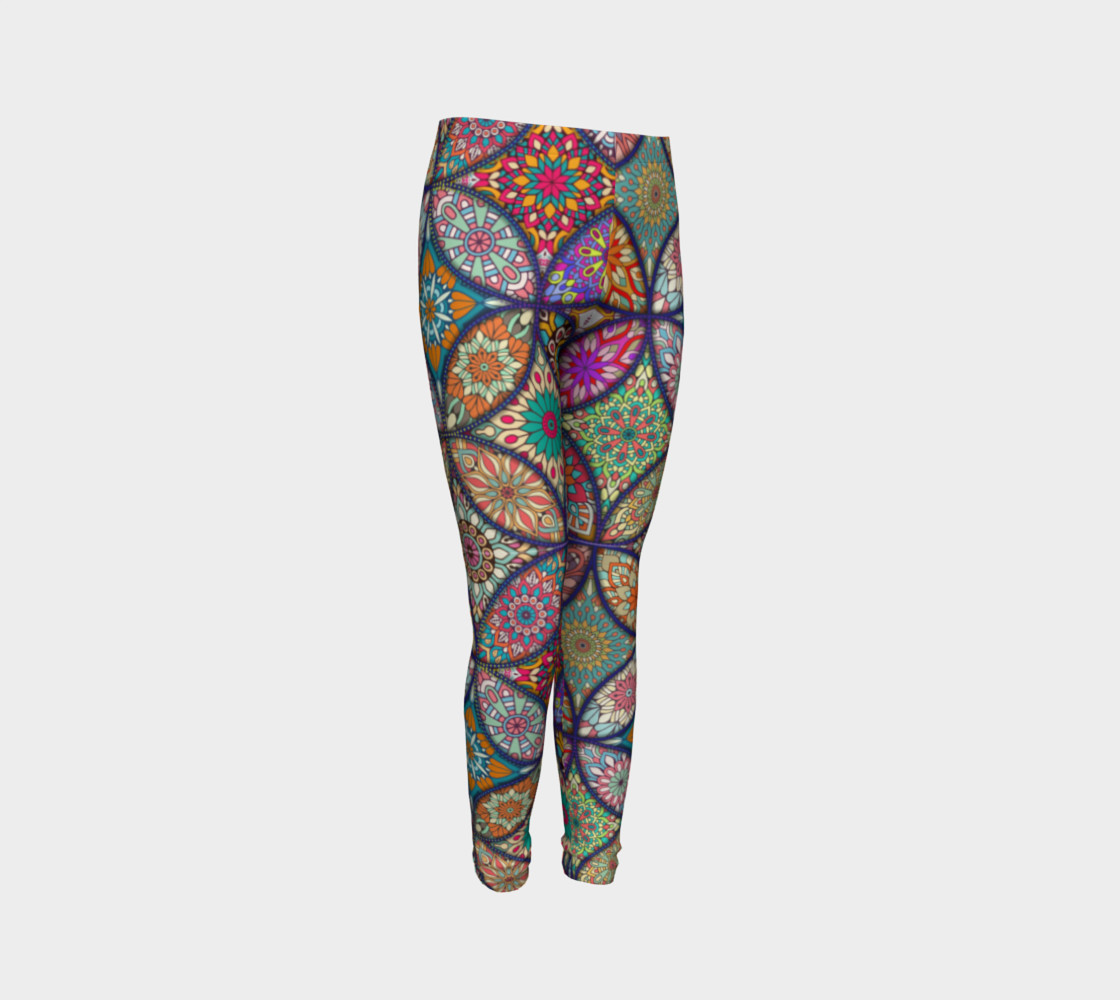 Vibrant Mandalas Youth Leggings 3D preview