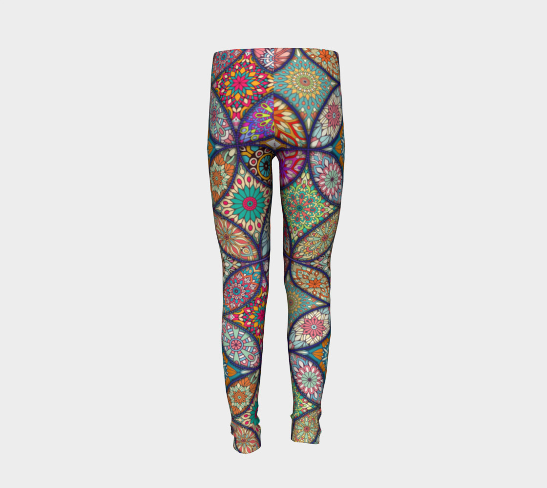 Vibrant Mandalas Youth Leggings preview #6