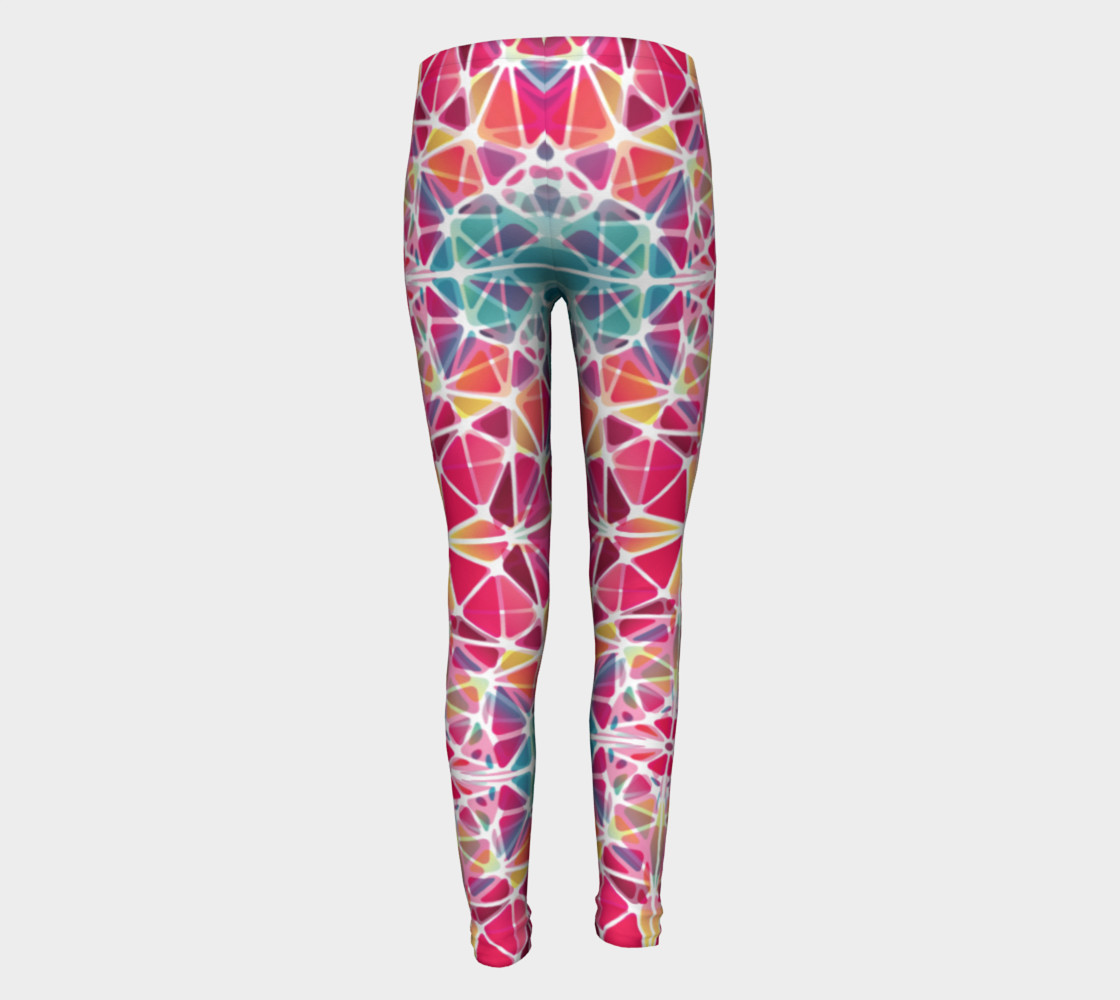 Aperçu de Pink and Blue Kaleidoscope Youth Leggings #5