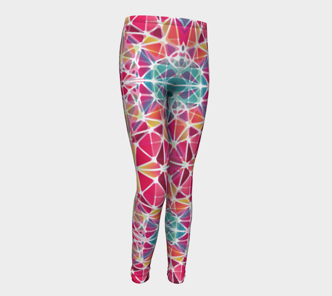 Aperçu de Pink and Blue Kaleidoscope Youth Leggings #1