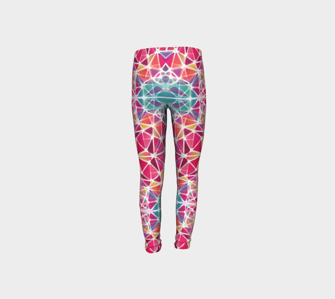 Aperçu de Pink and Blue Kaleidoscope Youth Leggings #8