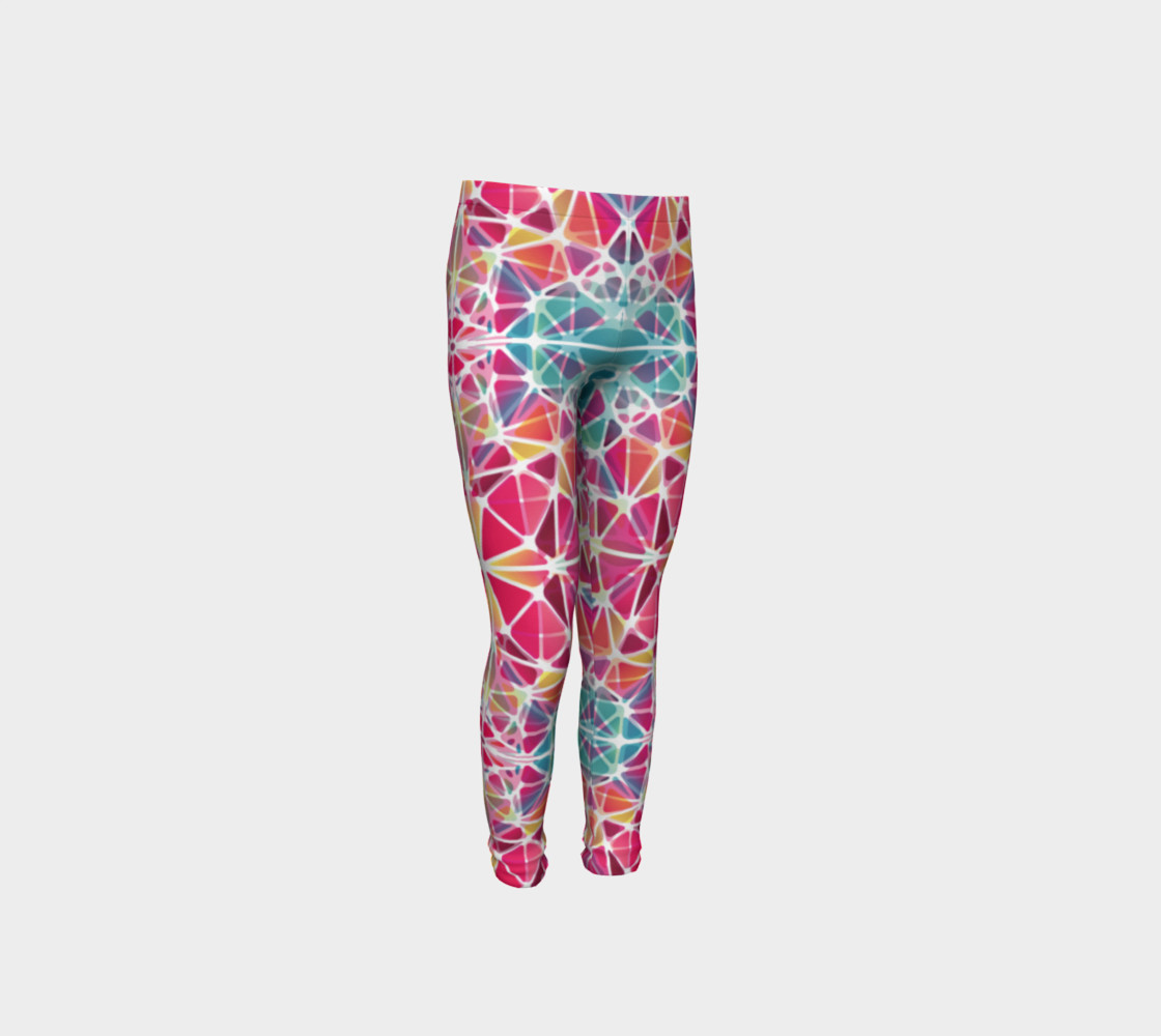 Aperçu de Pink and Blue Kaleidoscope Youth Leggings #4