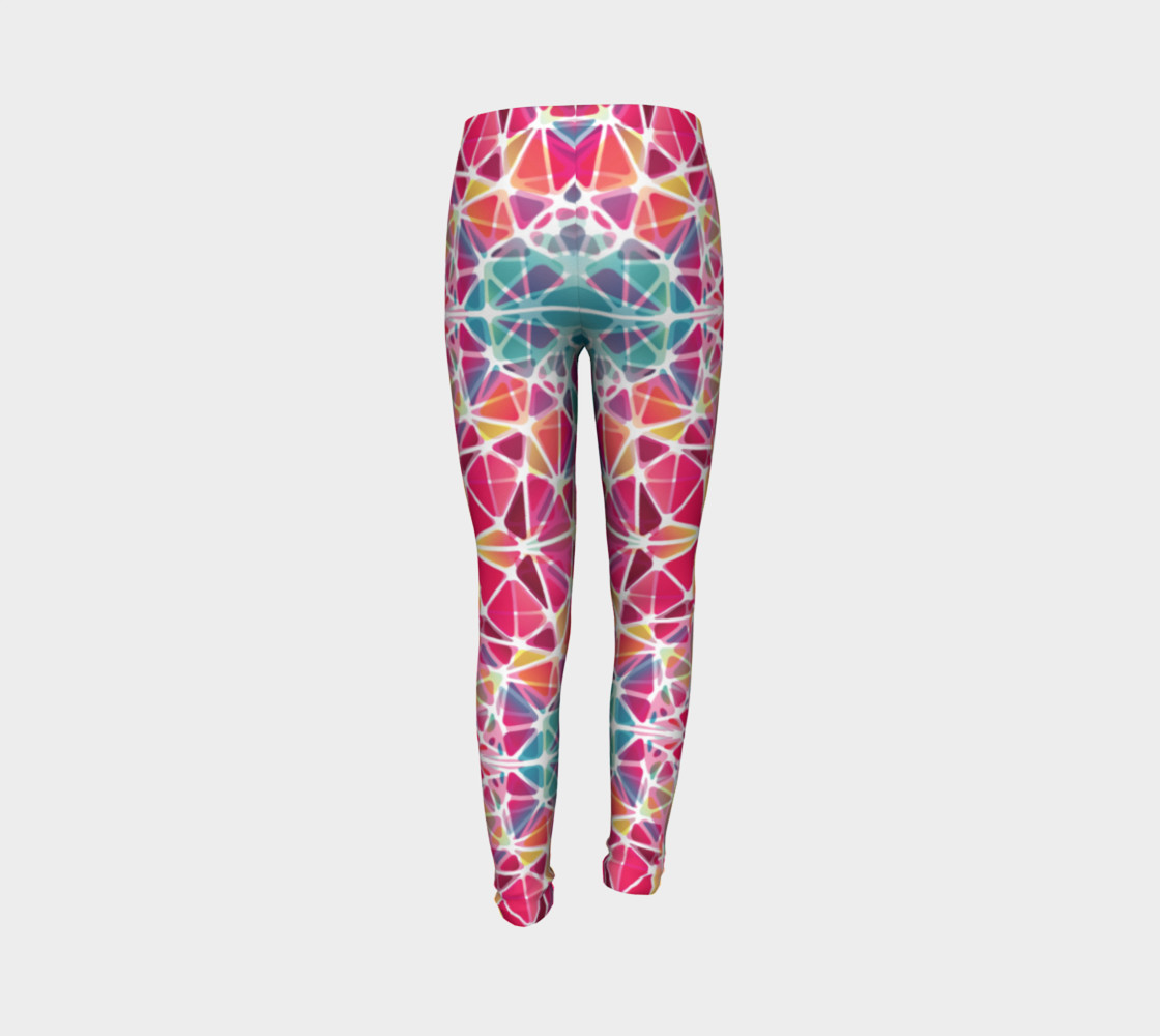 Aperçu de Pink and Blue Kaleidoscope Youth Leggings #7