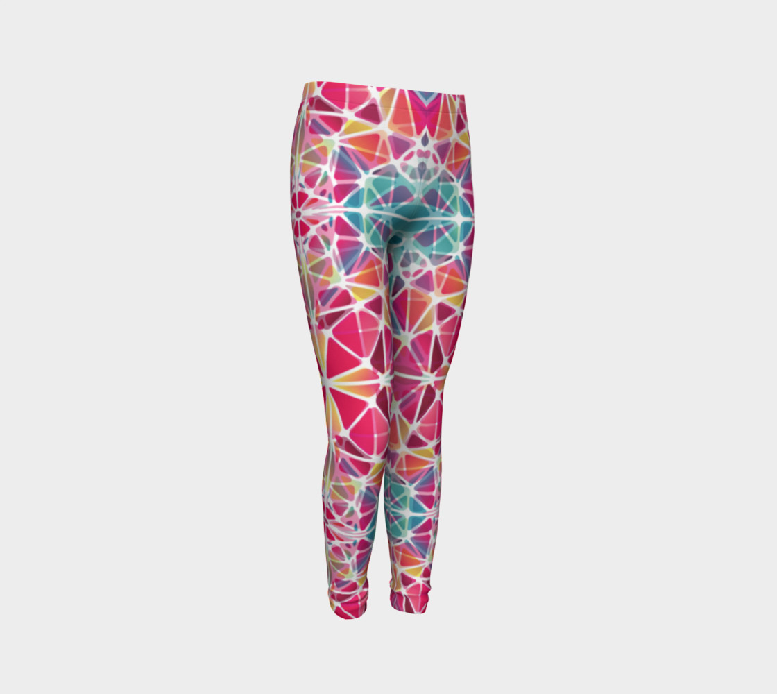 Aperçu de Pink and Blue Kaleidoscope Youth Leggings #3