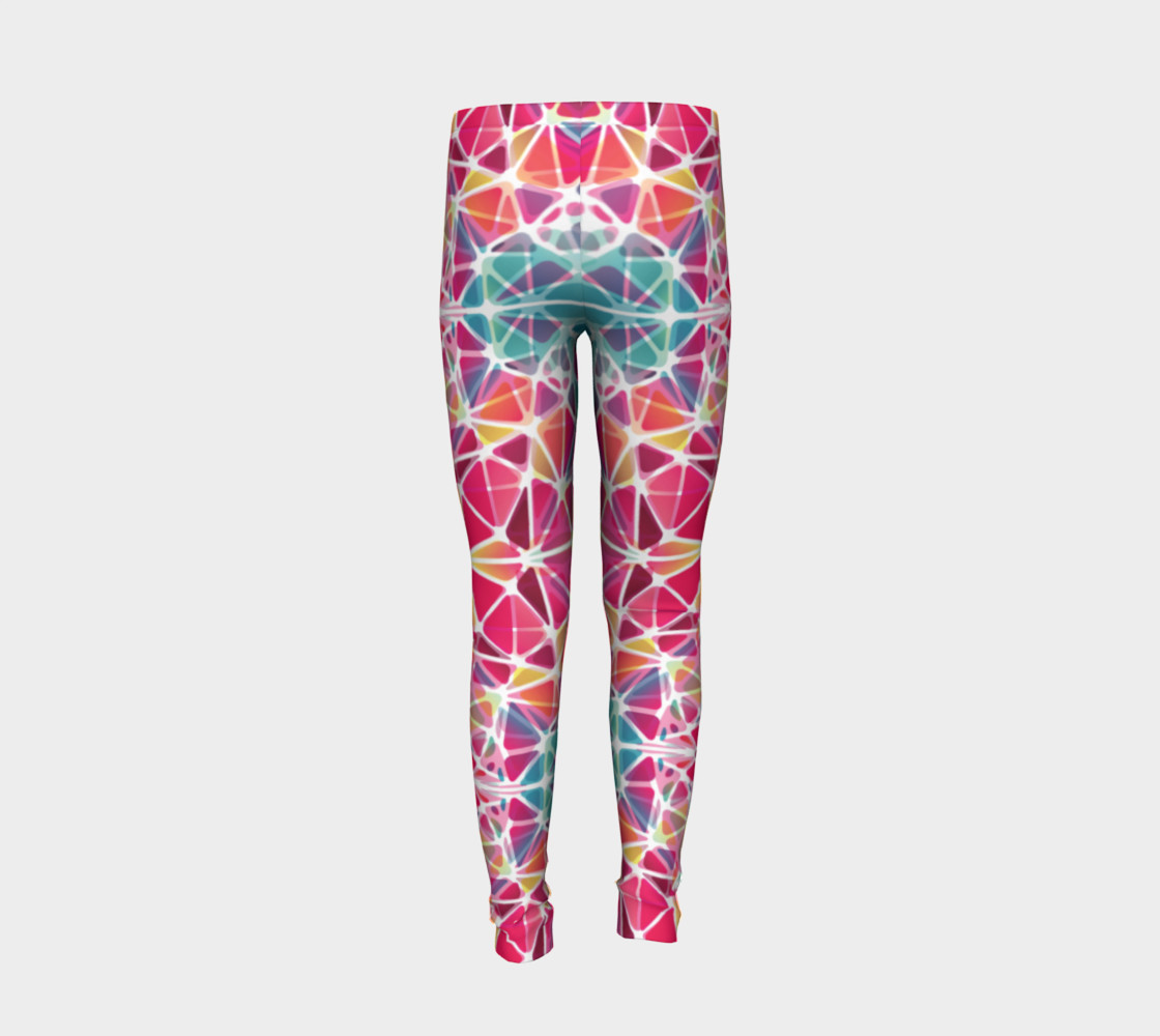 Aperçu de Pink and Blue Kaleidoscope Youth Leggings #6