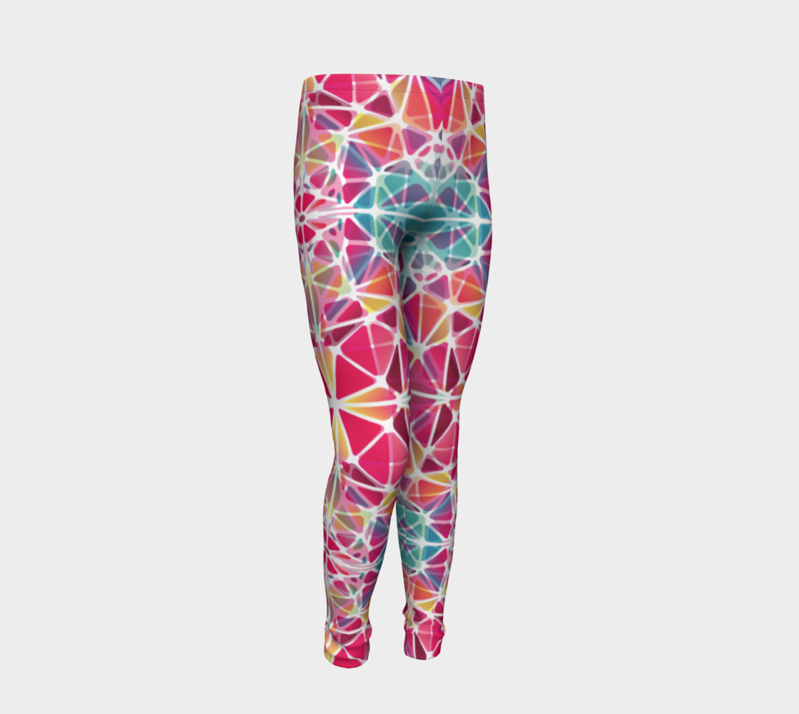 Aperçu de Pink and Blue Kaleidoscope Youth Leggings #2
