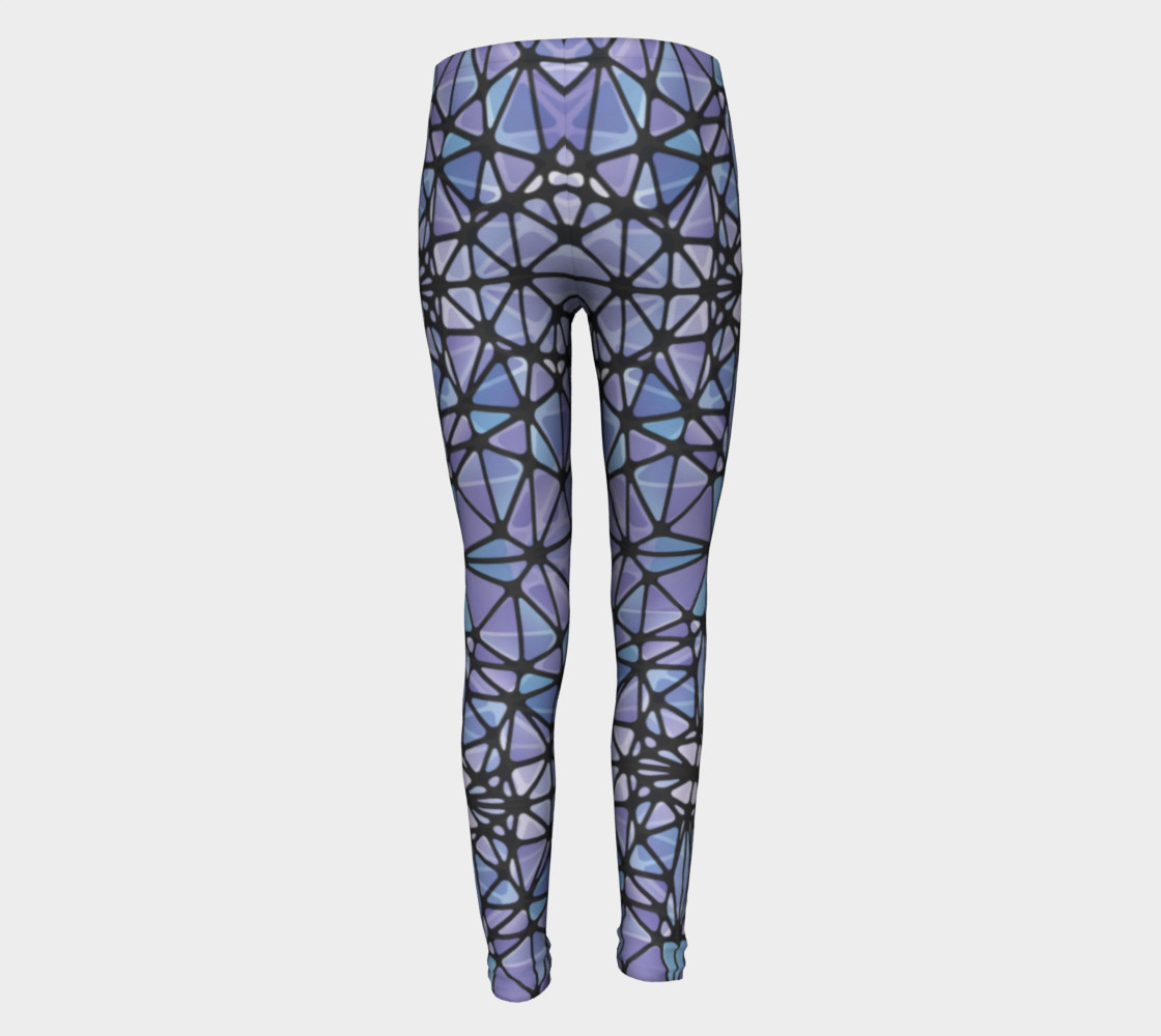Purple and Blue Kaleidoscope Youth Leggings preview #5