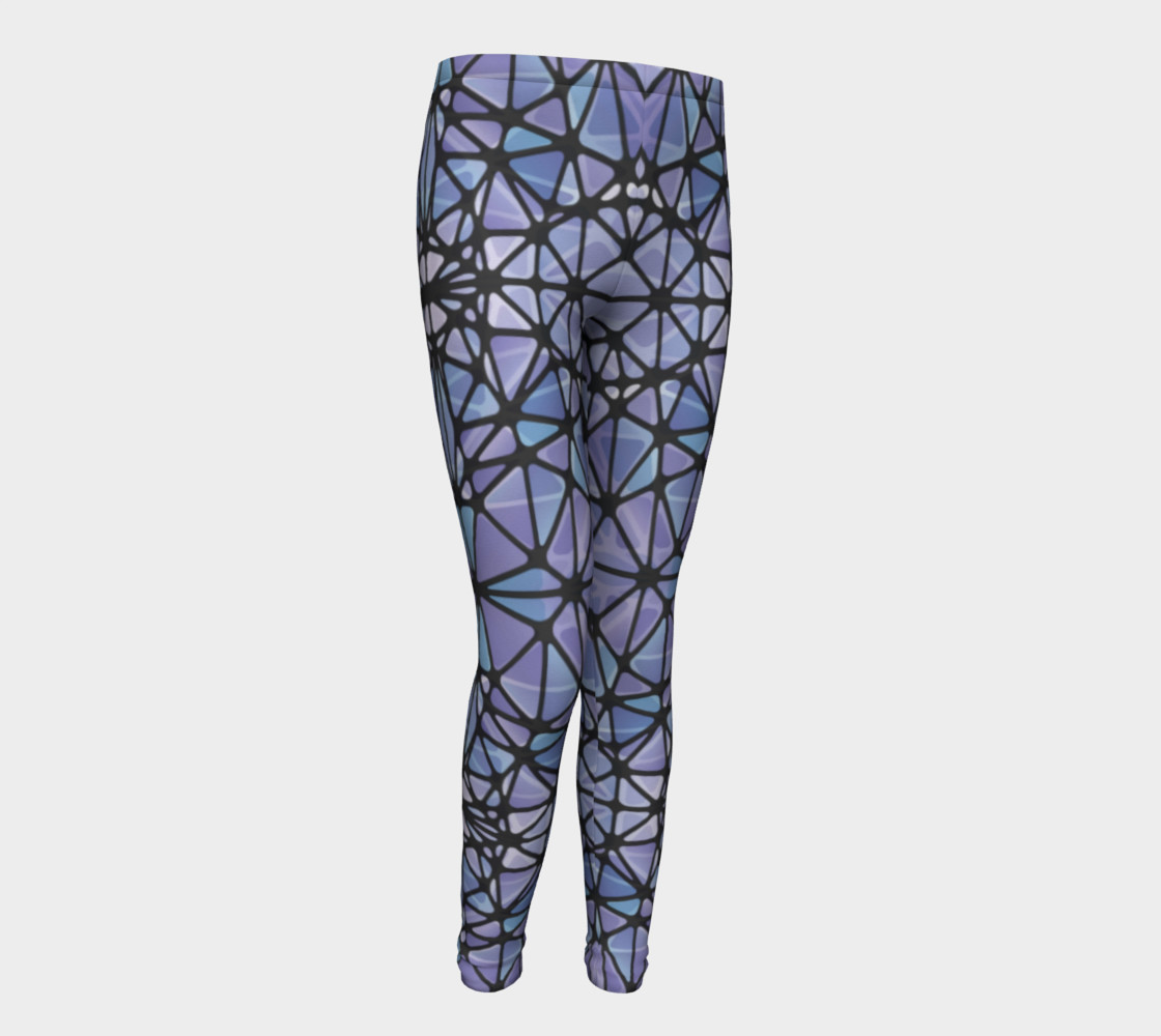 Purple and Blue Kaleidoscope Youth Leggings preview #1