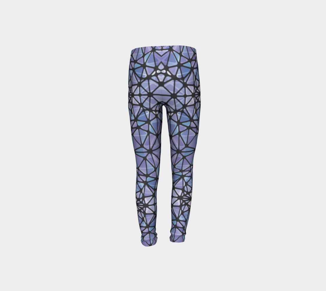 Purple and Blue Kaleidoscope Youth Leggings preview #8