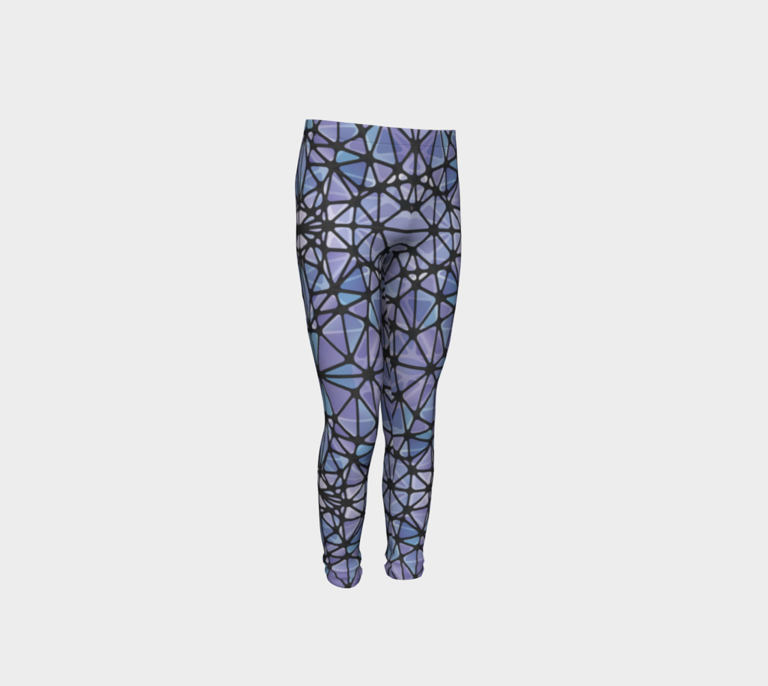 Purple and Blue Kaleidoscope Youth Leggings preview #4