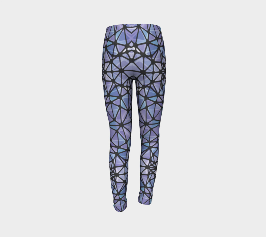 Purple and Blue Kaleidoscope Youth Leggings preview #7