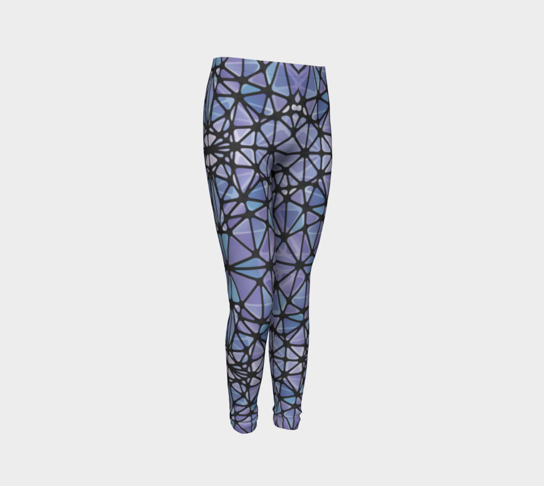Purple and Blue Kaleidoscope Youth Leggings preview #3