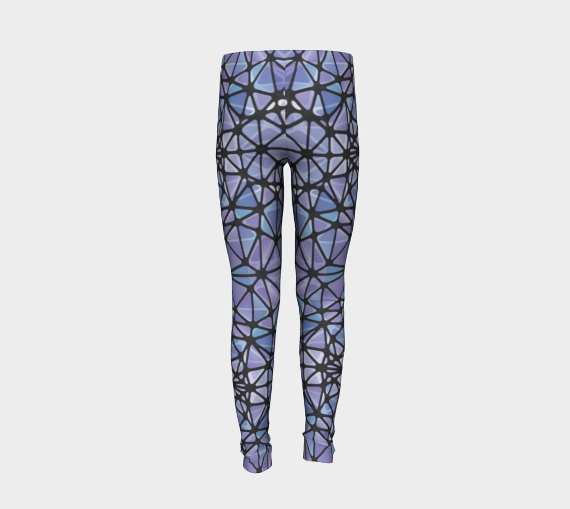 Purple and Blue Kaleidoscope Youth Leggings preview #6