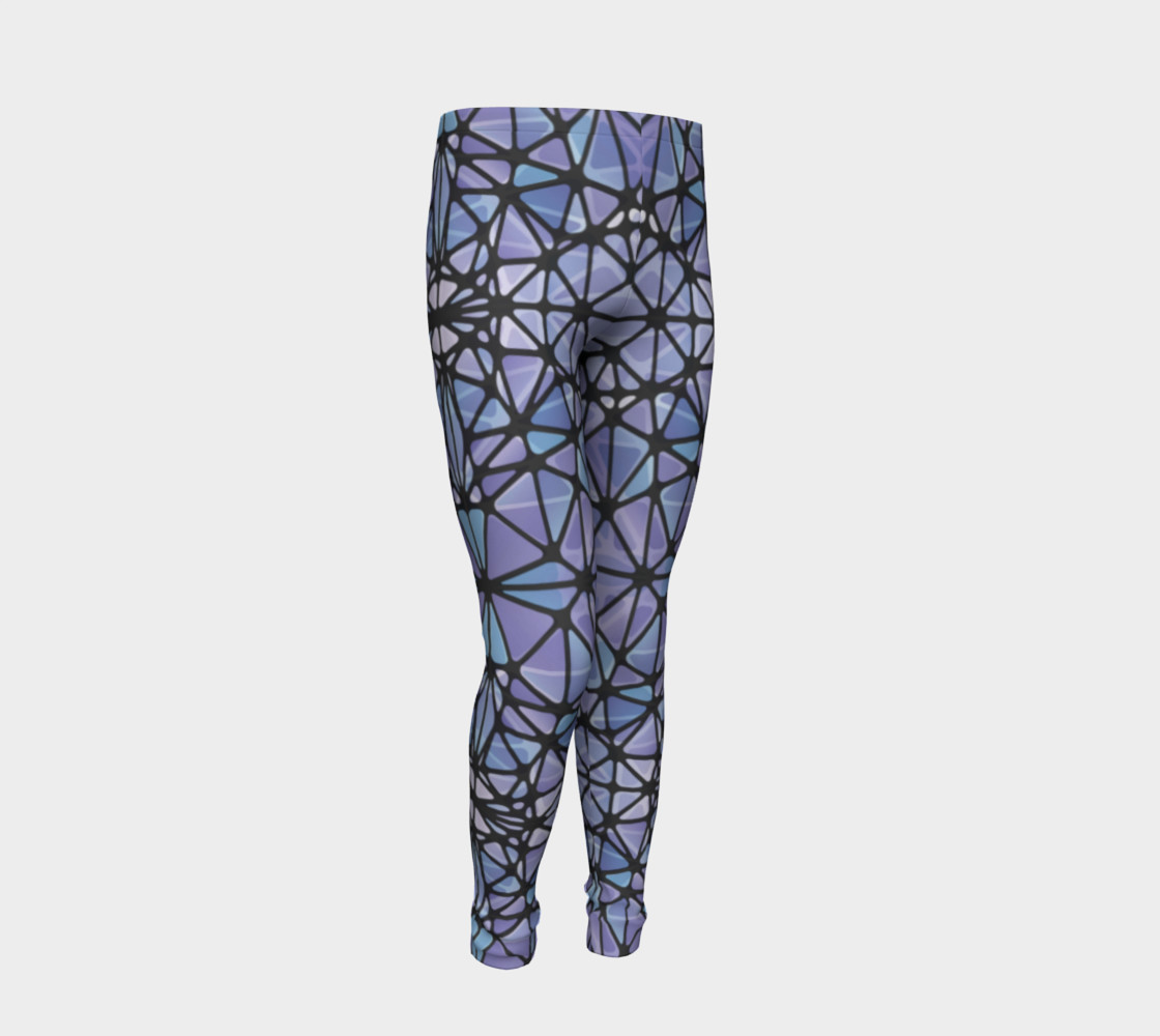 Purple and Blue Kaleidoscope Youth Leggings preview #2