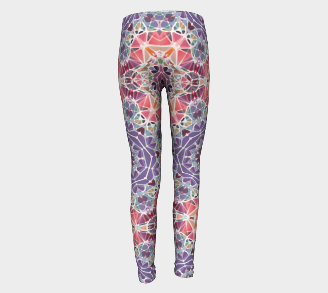 Purple and Pink Kaleidoscope Youth Leggings preview #5